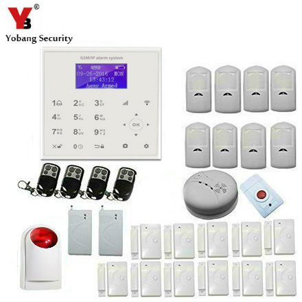 YobangSecurity WiFi GSM GPRS Home Burglar Fire Alarm System Wireless Siren IOS Android APP With Smoke Fire Vibration Detector yobangsecurity wifi gsm gprs home security alarm system android ios app control door window pir sensor wireless smoke detector