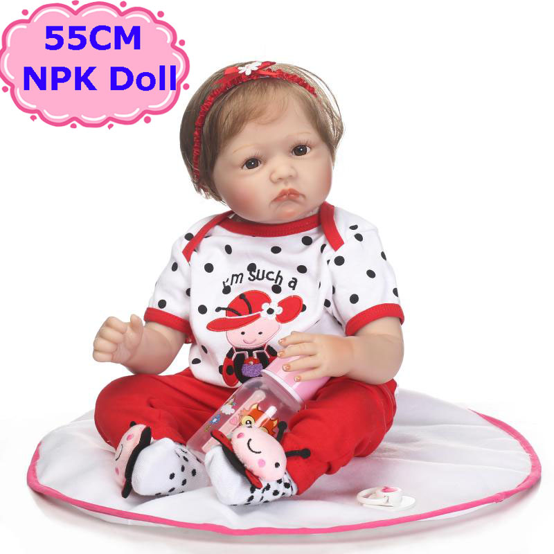Npkdoll 55cm Silicone Reborn Baby Dolls Real Alive Bebe Reborn Boneca With Soft Doll Clothes Toys For Babies Xmas Gift Brinquedo Dolls & Stuffed Toys