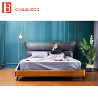 Italian bed frame king size genuine cowhide leather bed designs