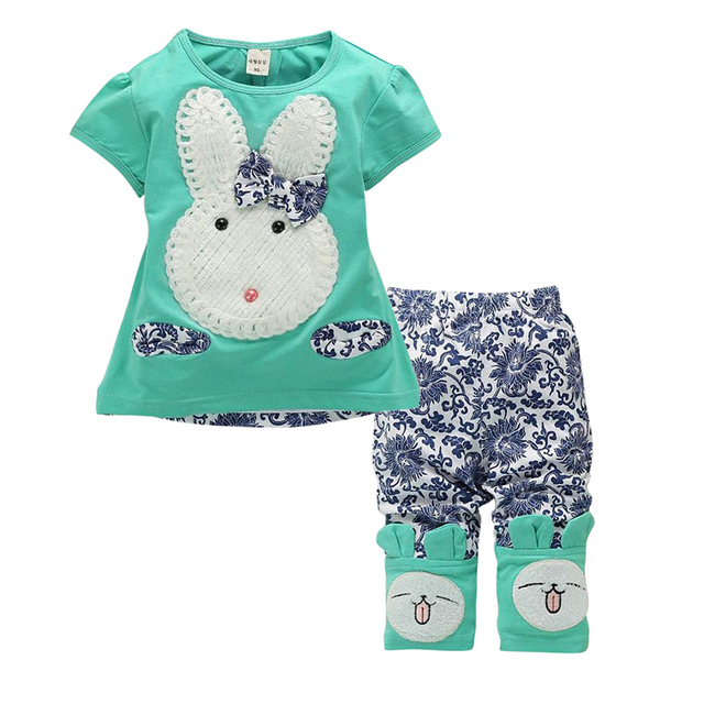 Baby Kids Girls Sets Top+Short Pants Summer Suits Cute Rabbit Cartoon Children's Clothing Set 2Pcs