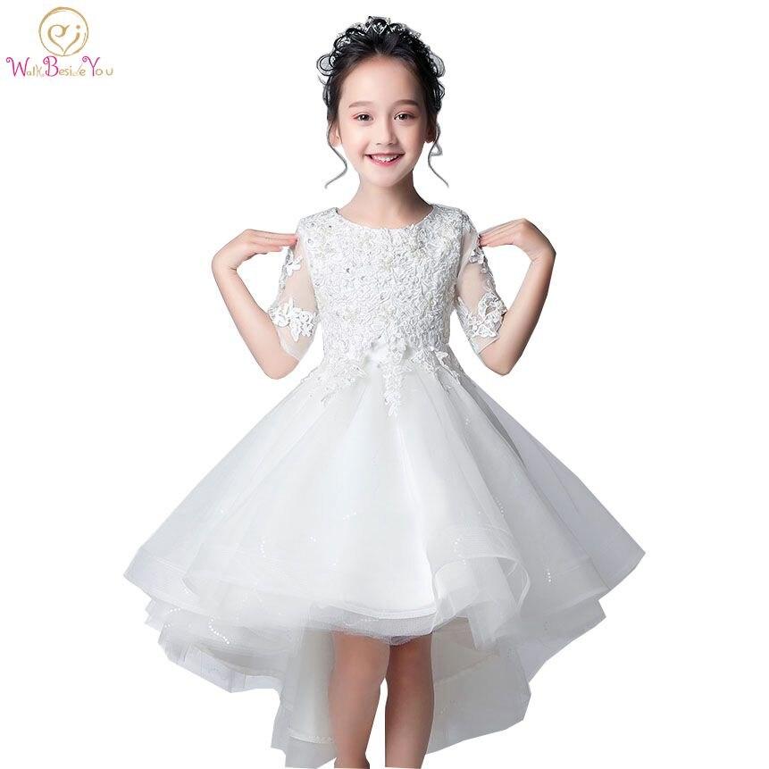 Walk Beside You White Lace Appliques   Flower     Girl     Dresses   O-neck Half Sleeve Short Front Long Back Comunion   Dress   Elegant vestido