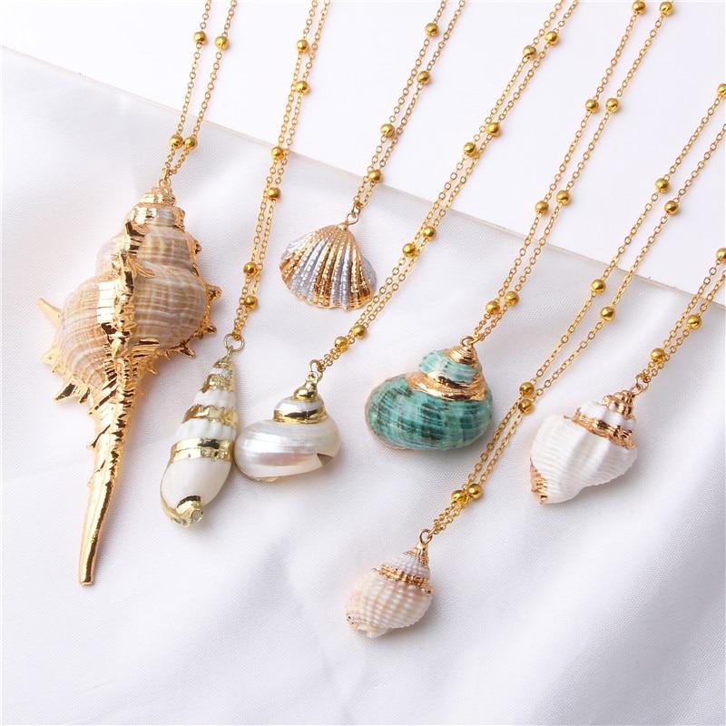 2019 Бохо раковины моллюсков ожерелье морской пляж оболочки кулон ожерелье для женщин Collier Femme Shell Cowrie летние ювелирные изделия богемные
