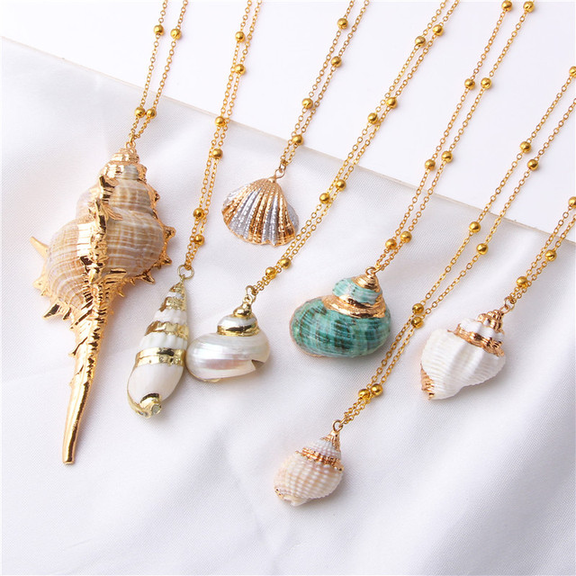 Boho Conch Sea Beach Shell Pendant Necklace