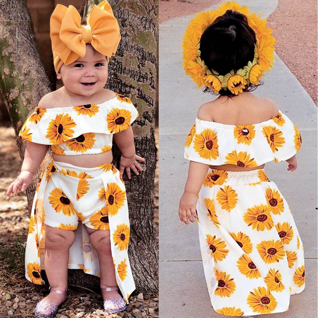 Cute Toddler Kids Baby Girl Headband Off Shoulder Tops Pants 3pcs Outfit Clothes