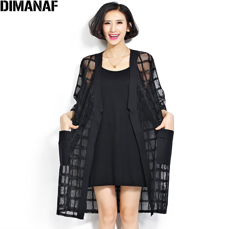 Ny Plus Size Chiffon Coat Summer Style Fashion Dametøj Big Size Black Plaid Print Løs Half Sleeve Lady Long Cardigan