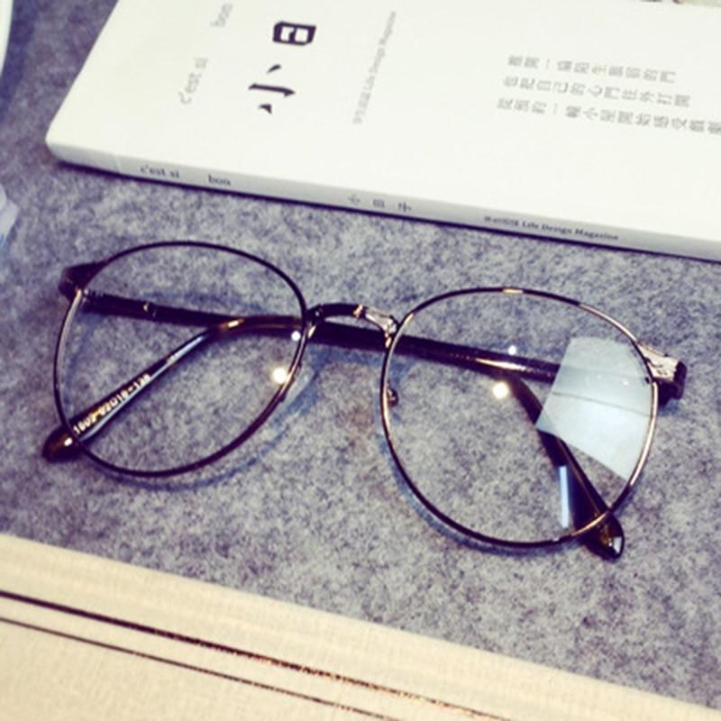 572e6f535 جديد ريترو جولة العتيقة إطارات النظارات إطارات الذكور رمادي واضح عدسة الإطار  المعدني الكامل للمرأة النظارات البصرية uv oculos