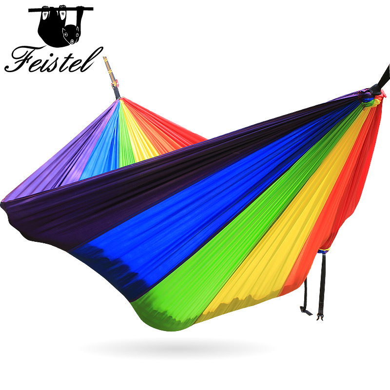 Rainbow Single portable hammock Camping 260cm*140cm colorful beautiful cute hammock for girl boy