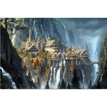 Полная круглая бриллиантовая вышивка Фэнтези Замок 5D DIY Алмазная картина вышивка крестиком Ландшафтная мозаика с бриллиантами украшение дома подарки