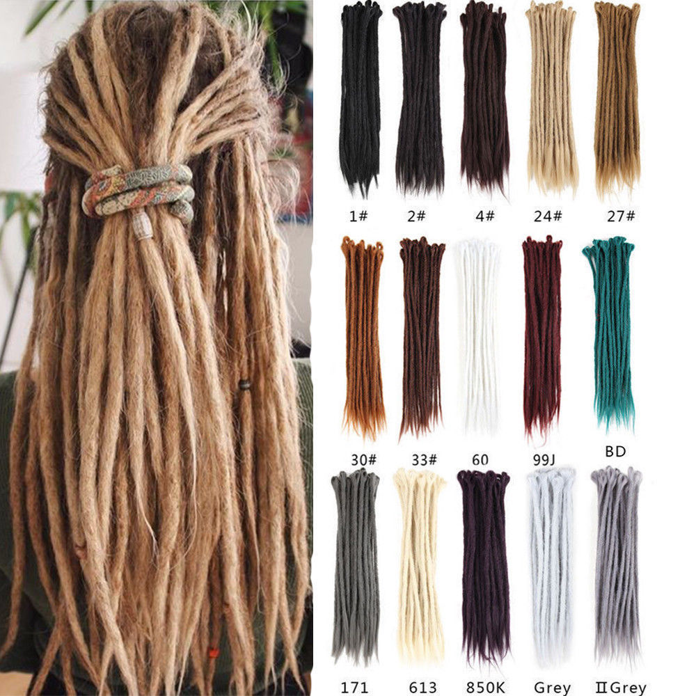 S-noilite 20 Inch Handmade Dreadlocks Hair Extensions Purple Ombre Crochet Hair 5 Strands Synthetic Crochet Braid Hair For Women