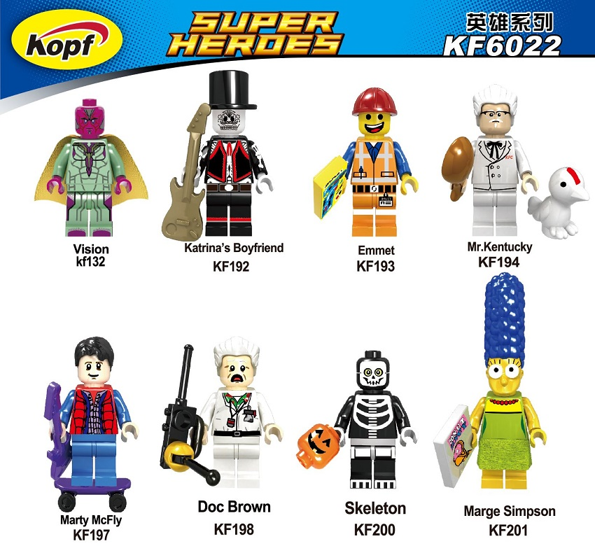 Super Heroes Vision Marge Simpson Skeleton Doc Brown Marty McFly Mr. Kentucky Building Blocks Bricks Children Gift Toys KF6022 овальный купить ковры ковер super vision 5412 bone овал 3на 5 метров