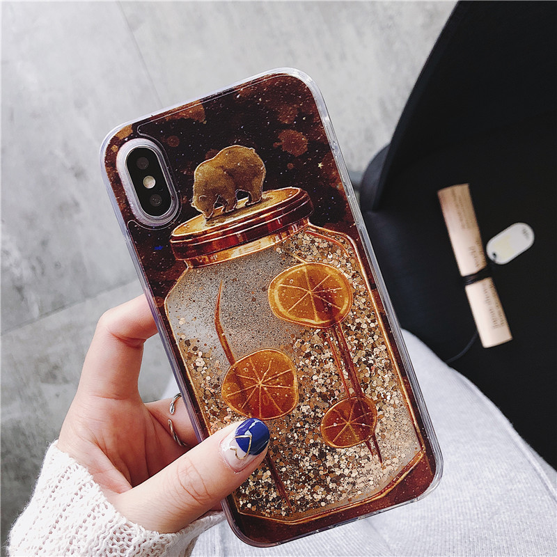 For Huawei P10 P20 Mate20 Lite Pro Case Cute Bear Quicksand Case Dynamic Liquid Glitter For Huawei Nove3i 2S Nova 2 3 Plus Cover in Fitted Cases from Cellphones Telecommunications