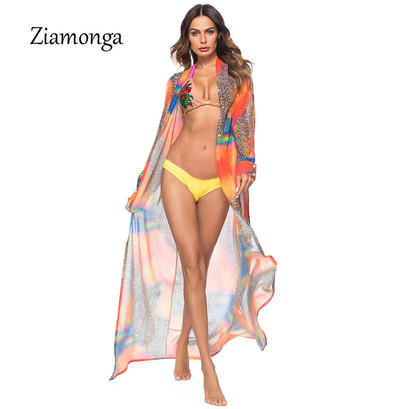 d0b0997d0a ... Ziamonga 2018 Summer Women Long Sleeve Kimono Cape Leopard Print  Chiffon Beach Shirts Knits Cover Up ...