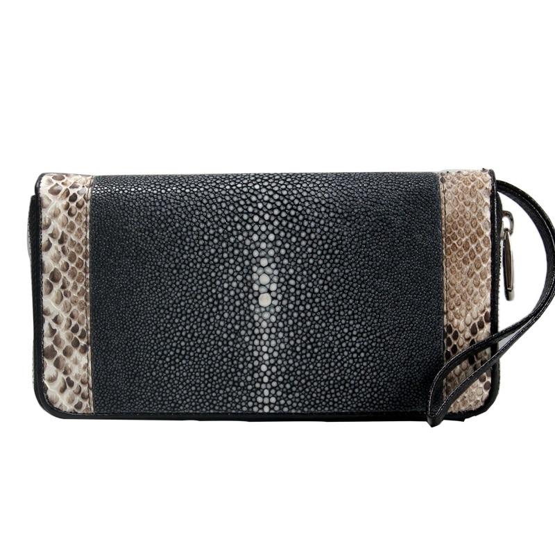 Stingray Telefon Genuine Verschluss Brieftasche Frauen Halter Große Karte Haut Organizer Luxus Schwarzes Clutch Weibliche Zipper Python Leder 4RxqvSwS5