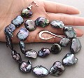 Natural 22mm Black keshi Pearl Necklace  free shippment
