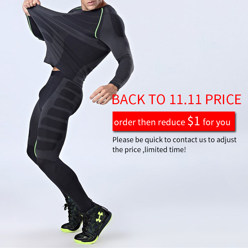 Image 2 - Quick Dry Mens Running Sets 2 pieces/sets Compression Sports Suits Men Basketball Tights Clothes Gym Fitness Jogging Sportswear-in Running Sets from Sports & Entertainment on AliExpress