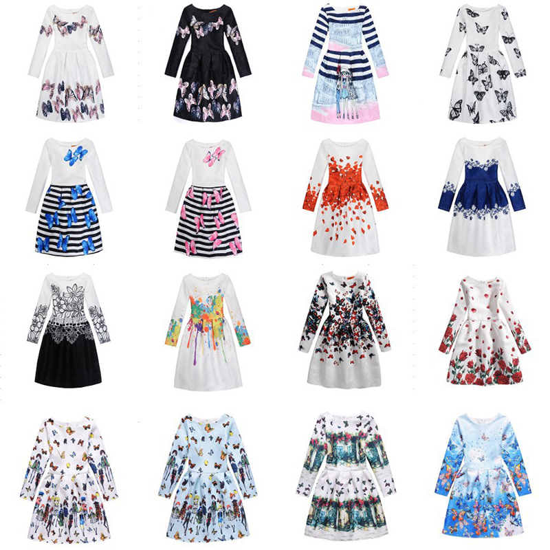 9899ddebcd5c Amuybeen 2018 New Girl Clothing Print Dress Long Sleeve Princess Floral  Baby Girls Dresses Party Children