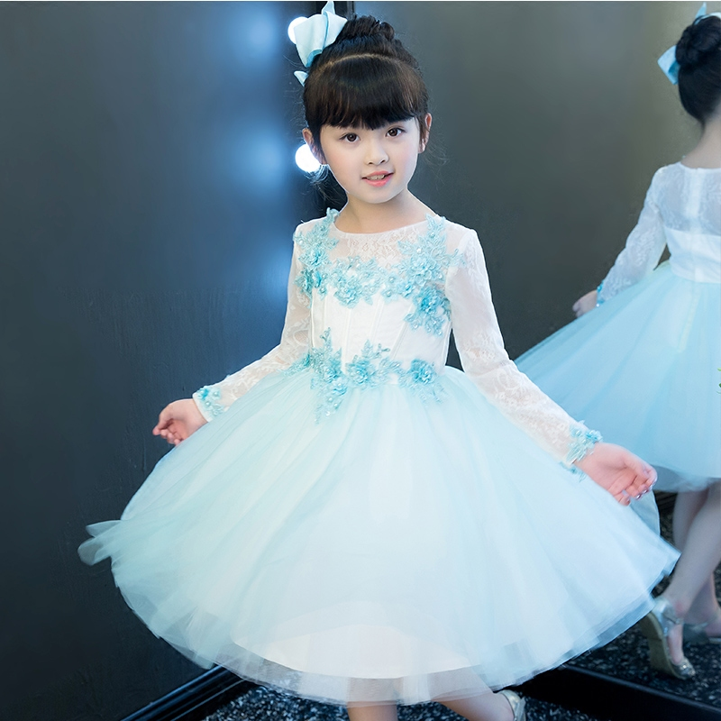 2017Children Girls Spring New Embroidery Flowers Princess Lace Long Sleeves Dress Kids Birthday Wedding Costume Ball Gown Dress girls birthday wedding evening party embroidery flowers lace princess dress children kids model show costume pageant long dress
