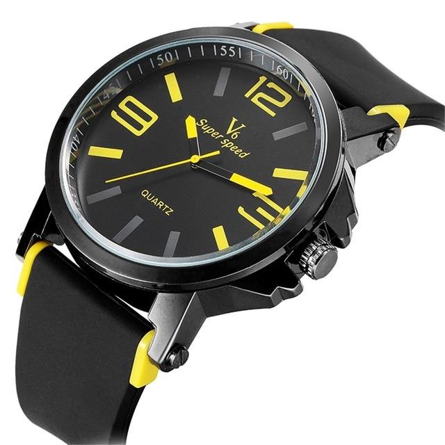 Fashion V6 Brand Wristwatches Clock Male Silicone Band Big Dial Quartz Watch Sport Men s Water