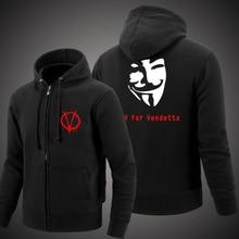 New autumn and winter 2016 men's and women Hoodies Sweatshirts V for Vendetta Vendetta men casual sportswear cardigan sweatshirt
