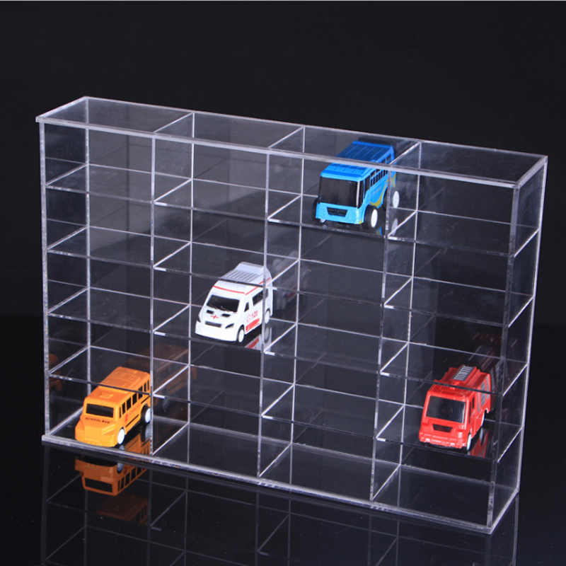 Organizador de maquillaje acrílico transparente 20 ranuras de coche de juguete soporte de exhibición modelo estante de joyería caja de almacenamiento-in Soportes y estanterías de almacenamiento from Hogar y Mascotas    1