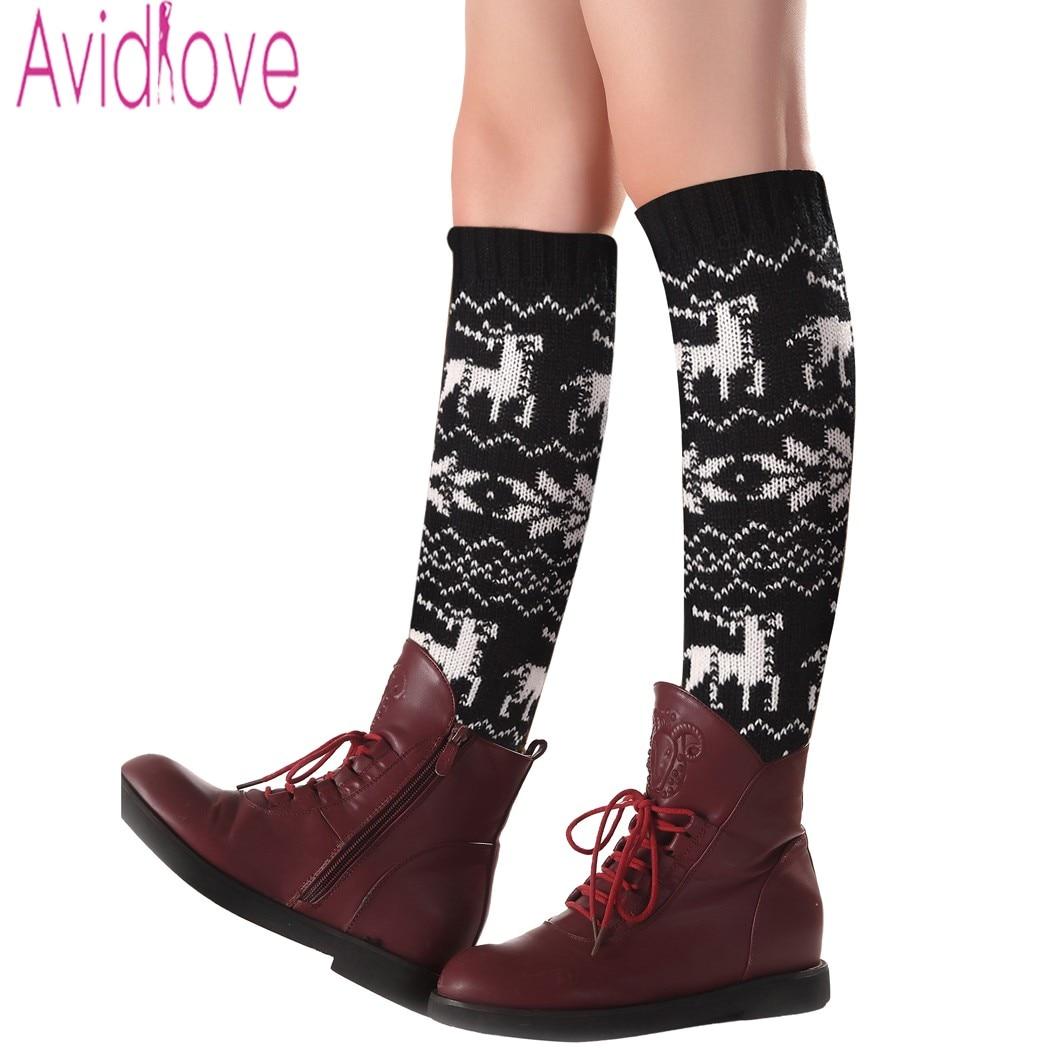 Avidlove Women Winter Knit Leg Warmers Fashion Snowflake Elk Pattern ...