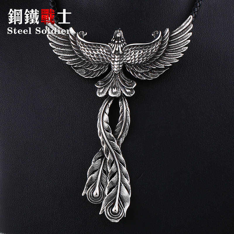 Steel soldier good detail 3D design Phoenix men necklace with pendant Stainless steel Charm Choker bird Animal Jewelry