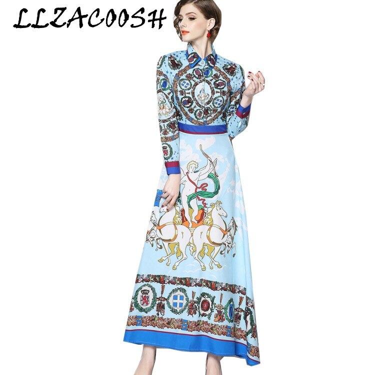 Vintage Print Floral Maxi Dress Women Runway Dress Designers 2019 Spring Long Sleeve Turn down collar Party Dress