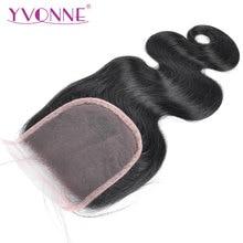YVONNE объемная волна человеческих волос Закрытие бразильские девственные волосы Кружева Закрытие 4x4 свободная часть натуральный цвет