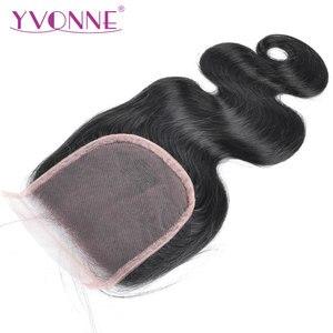 YVONNE Body Wave pelo humano Cierre de cabello virgen brasileño Cierre de encaje 4x4 parte gratis Color Natural