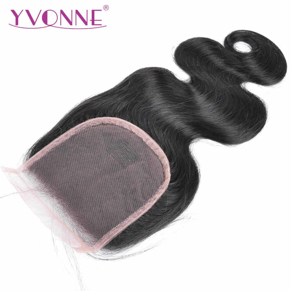 YVONNE ciało fala uzupełnienie splotu ludzkich włosów brazylijski dziewiczy włosy uzupełnienie splotu włosów lace closure 4x4 wolna część naturalny kolor