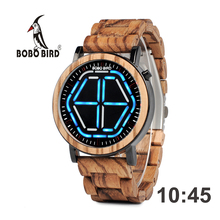 BOBO BIRD Digital Watch Top Brand Wood Men LED Digital Display Wristwatches Timepieces Erkek izle With Gift Wooden Box Dropship cheap STAINLESS STEEL CN(Origin) 19cm 3Bar Fashion Casual Folding Clasp with Safety ROUND 21 8mm 10mm Hardlex LED Display GP013