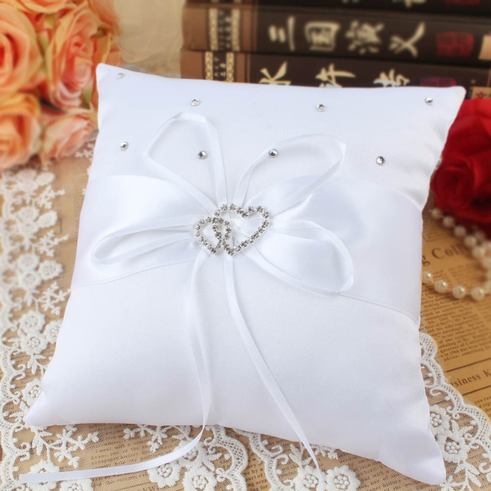 OurWarm 20cm Wedding Cushion Ring Pillow Double Heart Ring