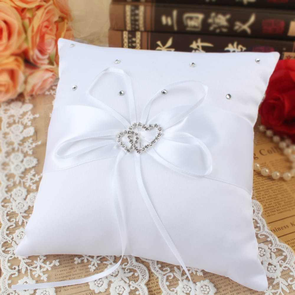 OurWarm 20cm poduszka ślubna poduszka pierścień podwójny pierścień z sercem poduszki Rhinestone chrzest ślubne upominki na przyjęcie urodzinowe dekoracje