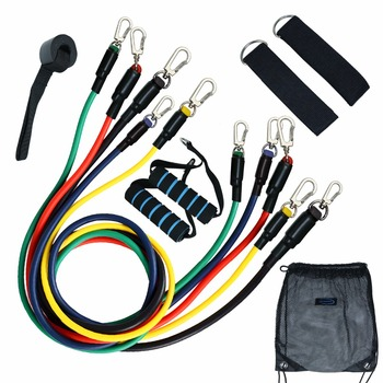 Resistance Bands 11pc Set with Door Anchor, Ankle Straps, Foam Handles & Resistance Band Carrying Case Fitness Workout resistance band 11pc set with door anchor ankle straps foam handles