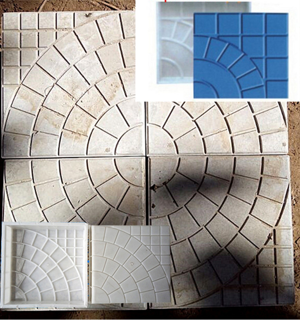 Square Garden Path Concrete Plastic Brick Mold Paving Pavement Walkway  Circle Square Pattern Stepping Stone Maker