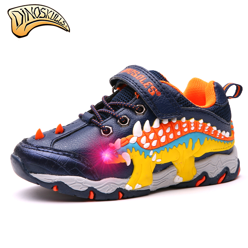 Dinoskulls Children Glowing Sneakers 2019 Boy Sports Light Up Shoes Kid Led Dinosaur Sneakers Trainers Boys Shoes 27-34