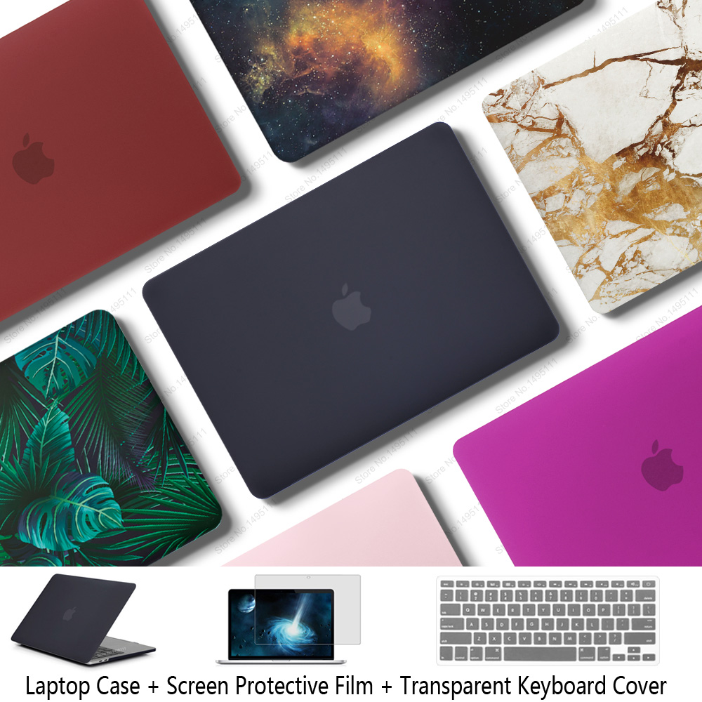 Nueva funda para laptop para Apple MacBook Air Pro Retina 11 12 13 15 para mac book Pro 13.3 15.4 pulgadas con barra táctil + cubierta de teclado