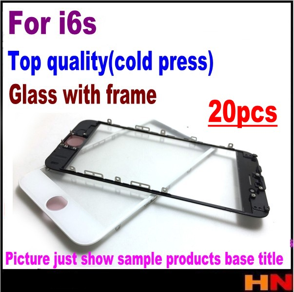 imágenes para 20 unids prensado en frío para el iphone 6s 4.7 frontal del objetivo de cristal + frame medio bisel negro y blanco de calidad superior del soporte