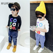 2-7Y Boys thick T-shirt Kids Tees Baby Boy brand t shirts Children tees Long Sleeve 90% Cotton cardigan sweater jacket shirts