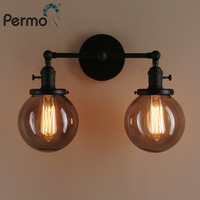 Permo 5.9'' Double Heads Wall Light Vintage Deco Flexible Wall Lamp Sconce Bed Lamp Fixtures Globe Smoky Grey Glass Lamp Shade
