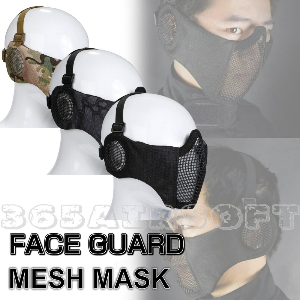 Tactical Strike Steel Lower Half Face Mask With Ear Protection Military Army CS Wargame Paintball Hunting Protective Mask