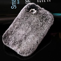 Rhinestone Luxury Bling Fluffy New 100 Real Rabbit Fur Case For Samsung Galaxy A3 A5 A7