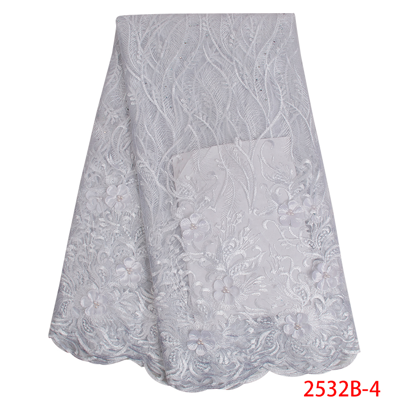 2019 High Quality African Lace Fabric Latest 3D Flowers French Tulle Net Embroidery Lace Fabric For Wedding Dress KS2532B-4
