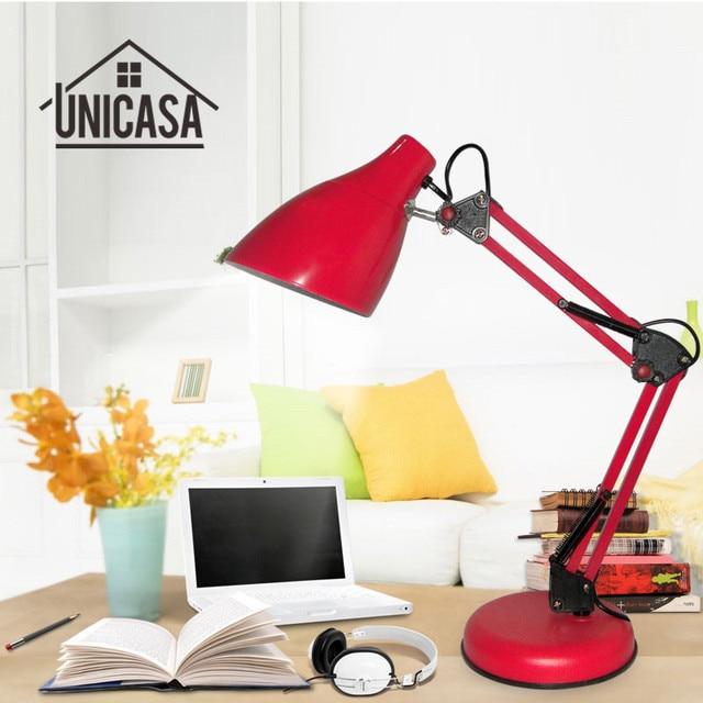 Adjustable clip desk lamps bedside desk top table lamp bedroom red table lights office light libraly