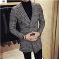 England Style Double Breasted Houndstooth Woolen Blazer Men 2017 Slim Fit Designs Elegant Medium Long blazer masculino