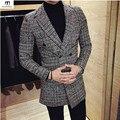 Inglaterra Estilo Double Breasted Houndstooth Lã Blazer Homens Slim Fit 2017 Designs Elegantes de Médio Longo blazer masculino