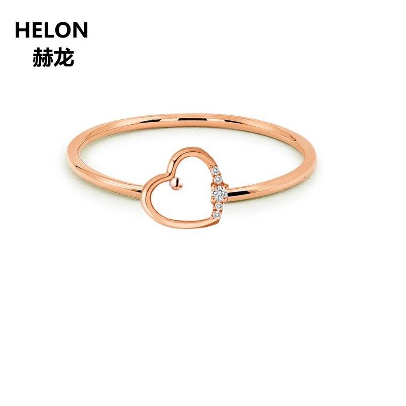 Solid 14 К розовое золото Для женщин Природные бриллианты кольцо сердце Обручение обручальное кольцо Fine Jewelry