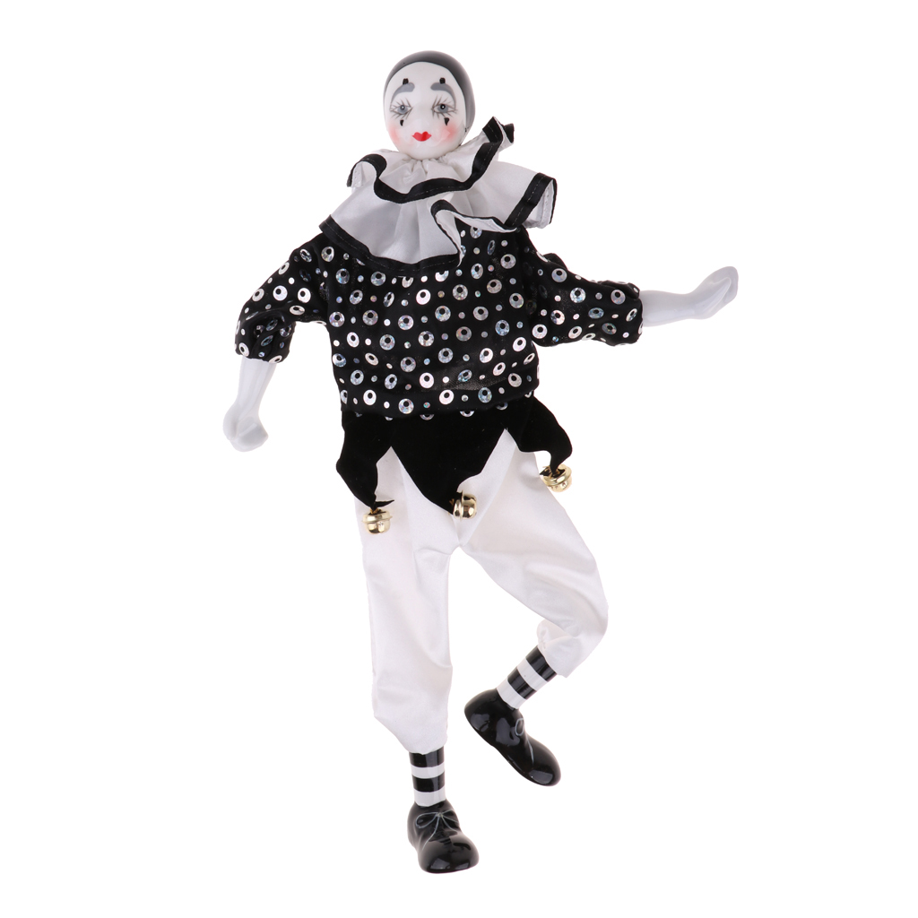 Vintage Porcelain Clown Doll Figurine with Colorful Clothes and