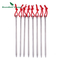 Boundless Voyage Titanium Alloy 20cm Long Tent Pegs Nails Outdoor Camping Tent Accessories Stakes