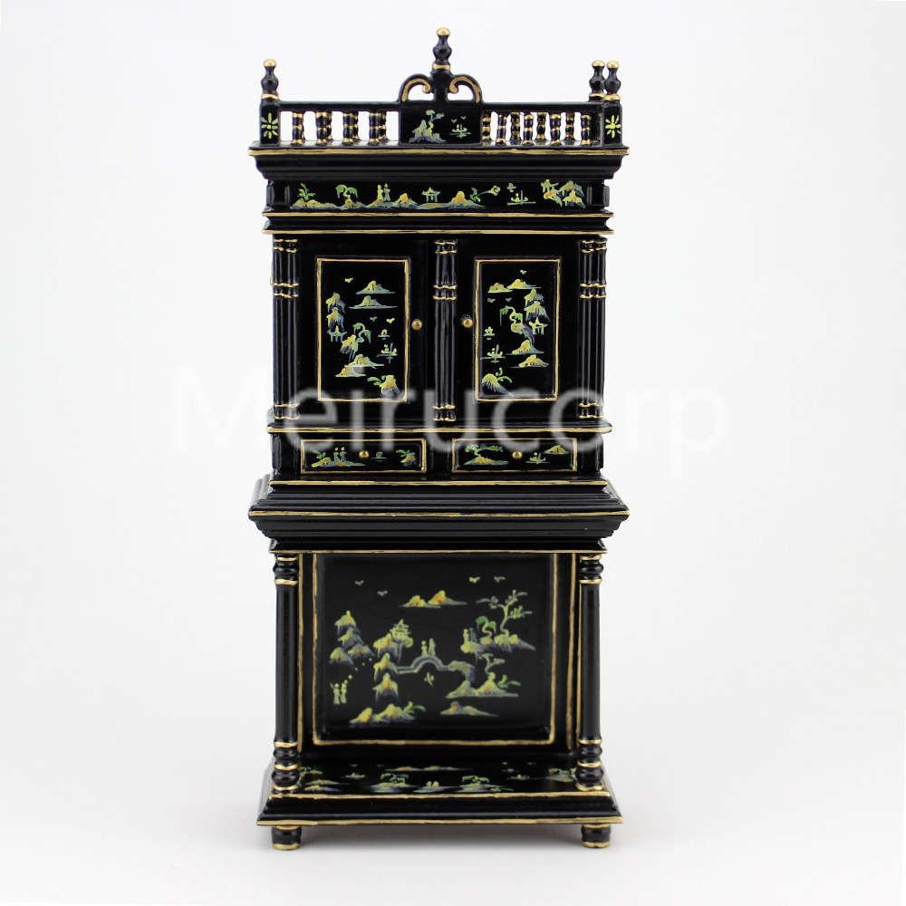 Dollhouse furniture 1/12 scale Black painted cabinet collection of Chinese landscape painting 12135 30 millennia of painting